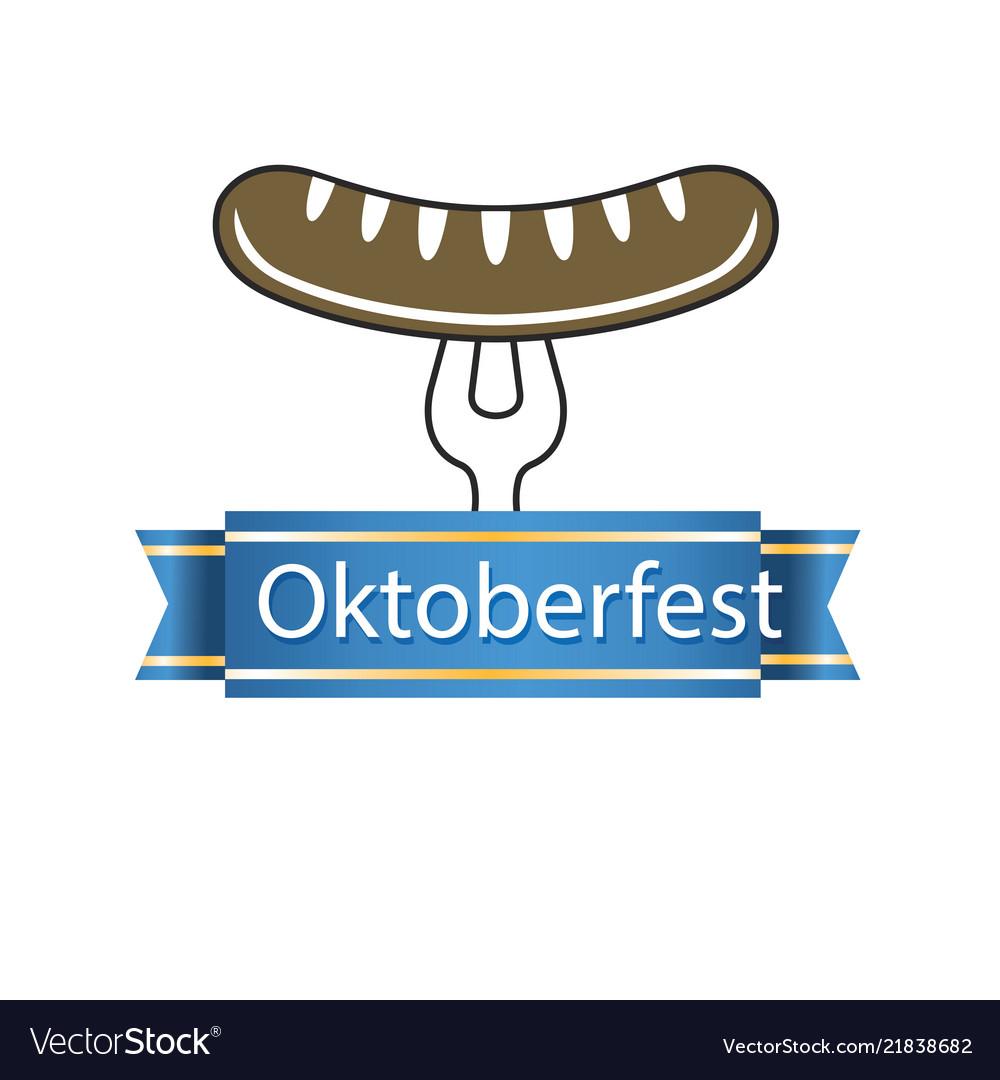Oktoberfest blue ribbon sausage on the fork