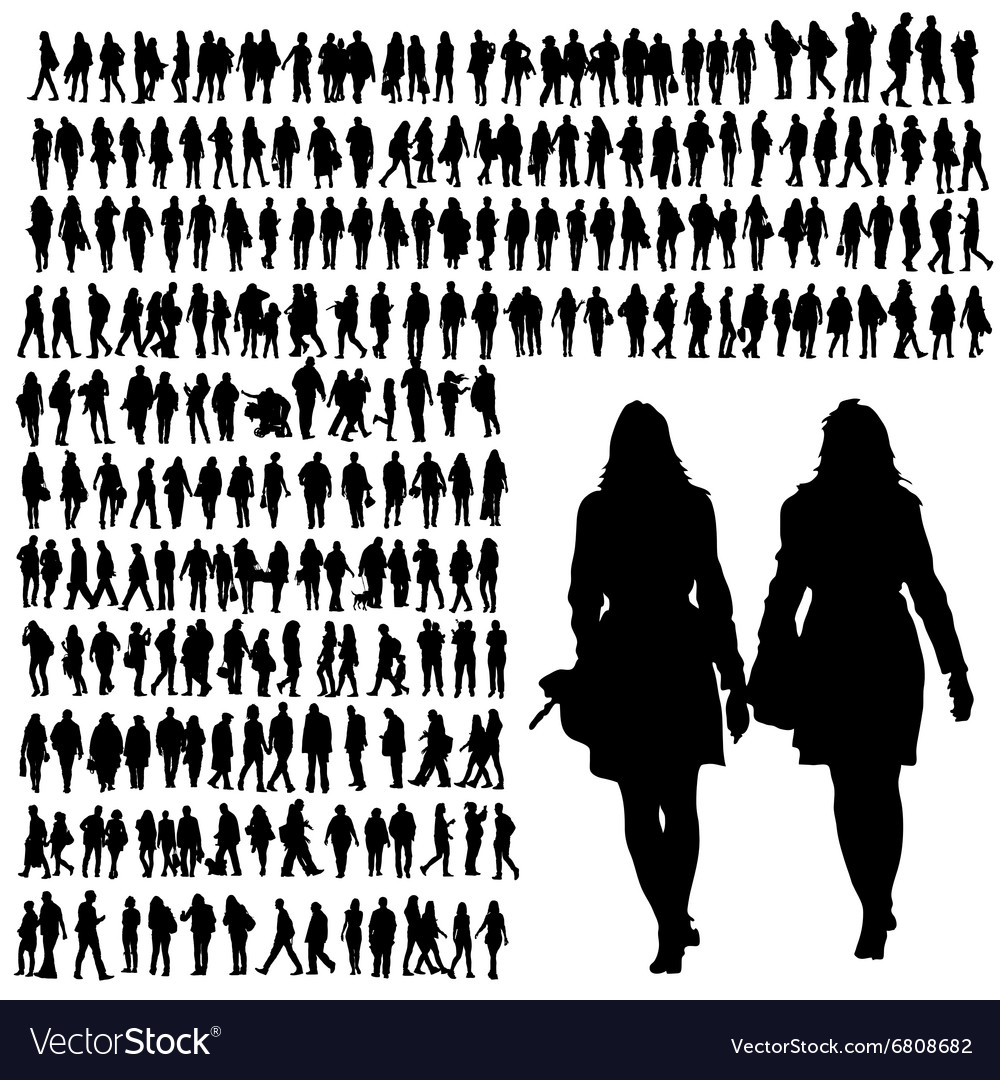 People walking silhouette black vector image