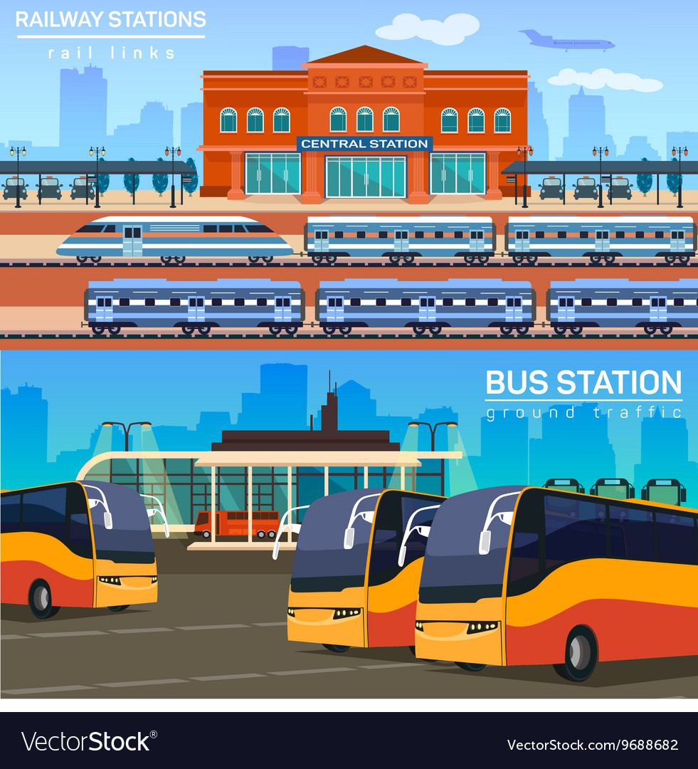 Rail network or link and bus station