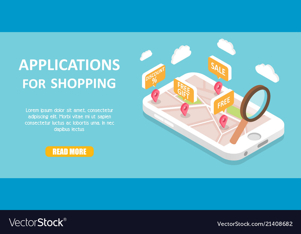 Shopping apps banner web template