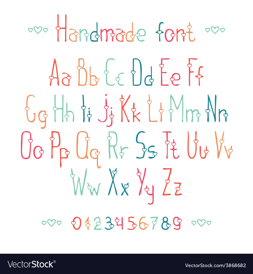 Simple romantic hand drawn font with hearts