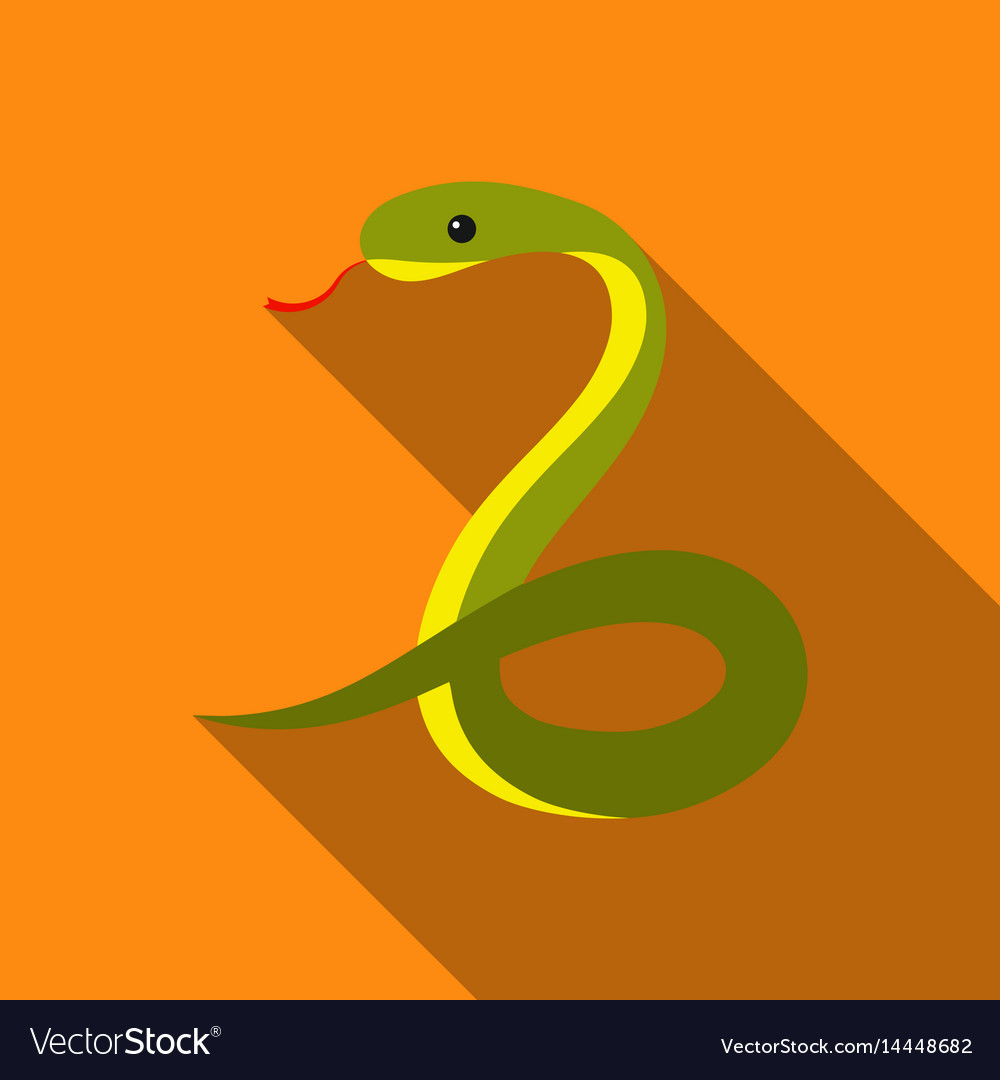 Snake icon flat singe animal icon from the big