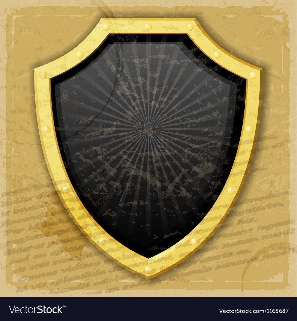 A golden shield on the vintage background vector image