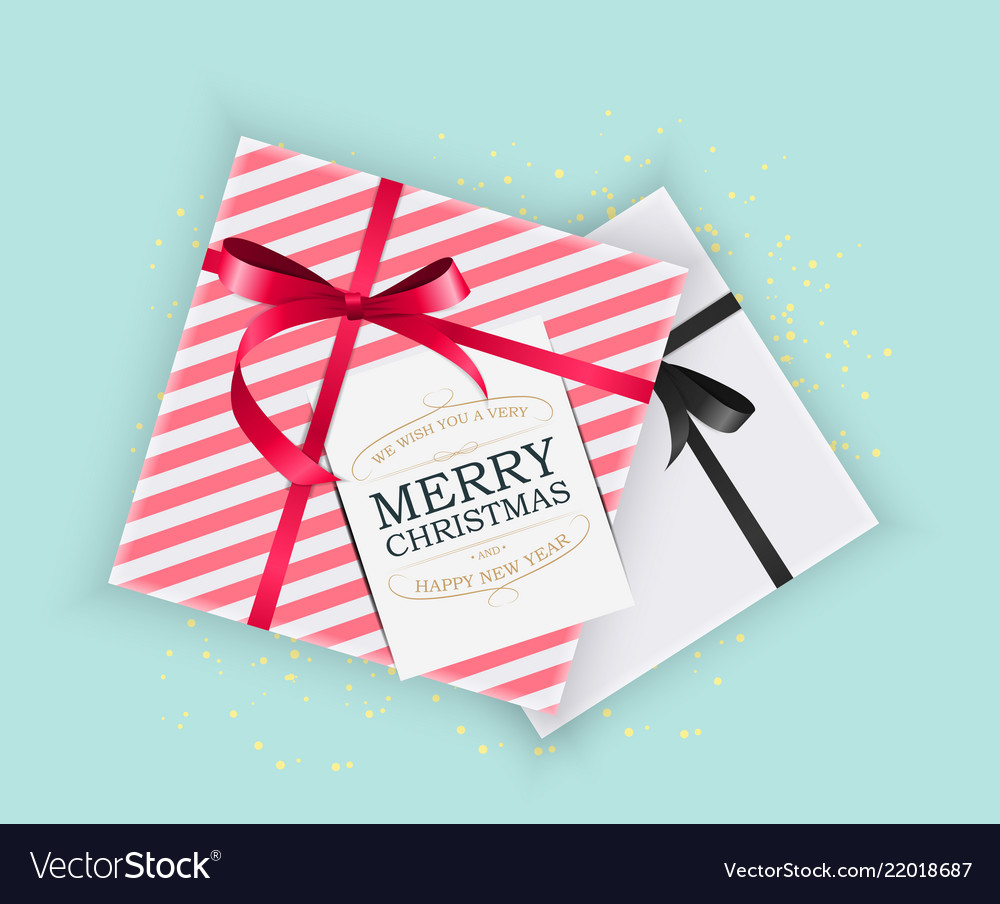 Abstract christmas and new year gift box on blue