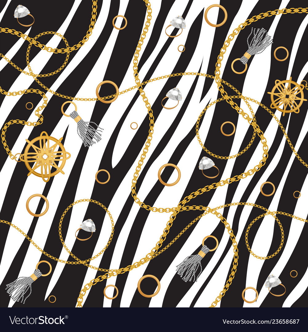 Chain seamless pattern luxury zebra animal skin