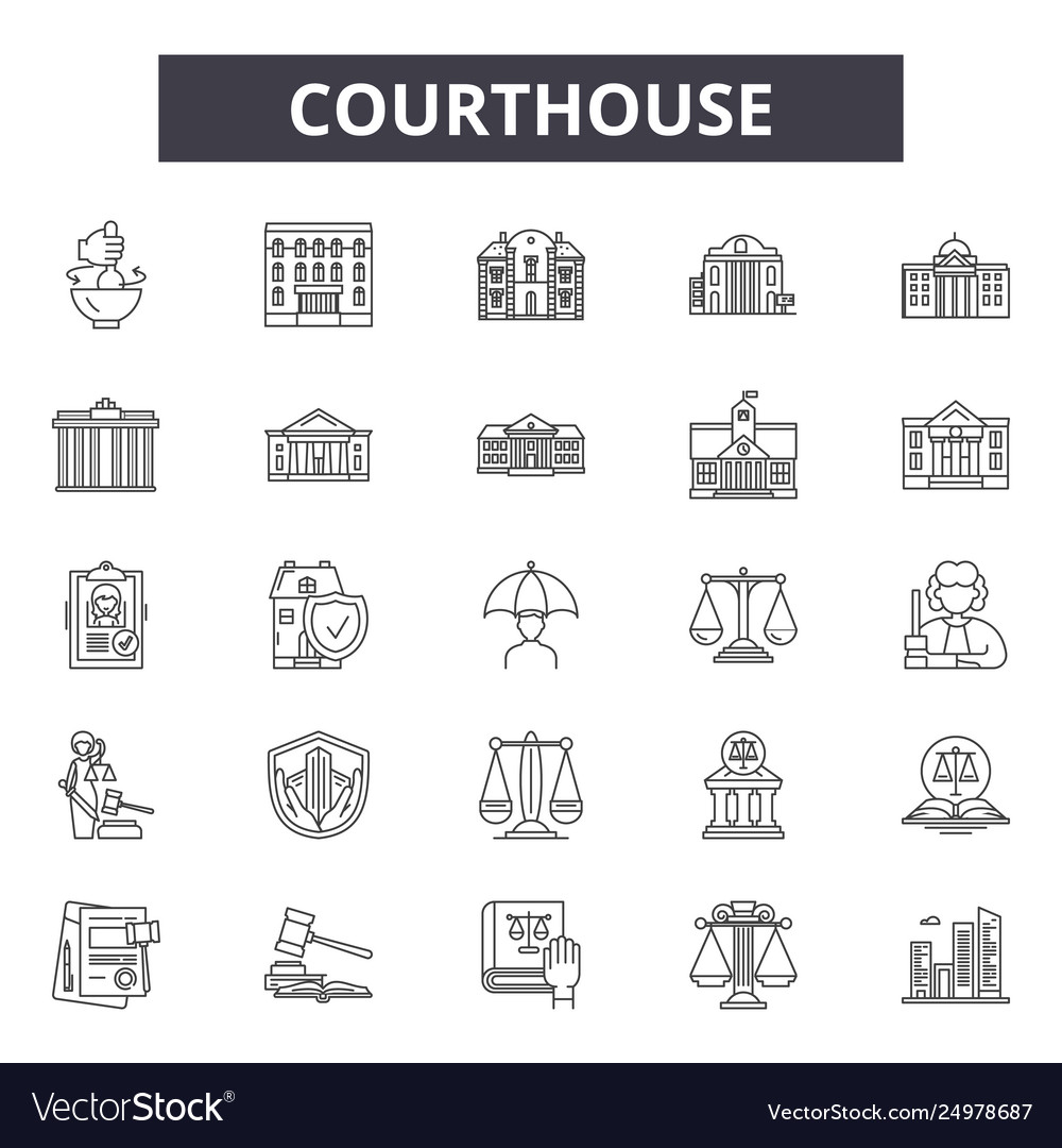 Courthouse line icons signs set outline