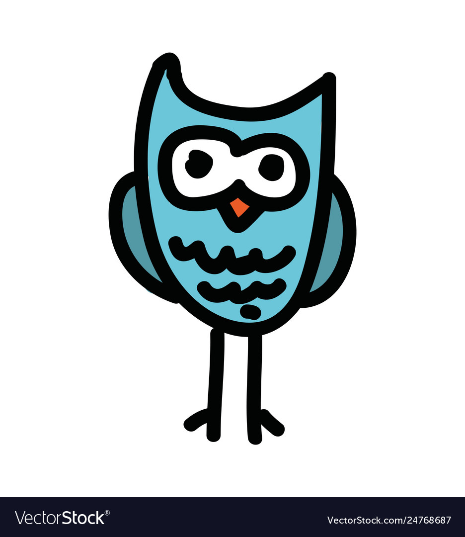 - Cute Owl Drawing Isolated Icon Royalty Free Vector Image
