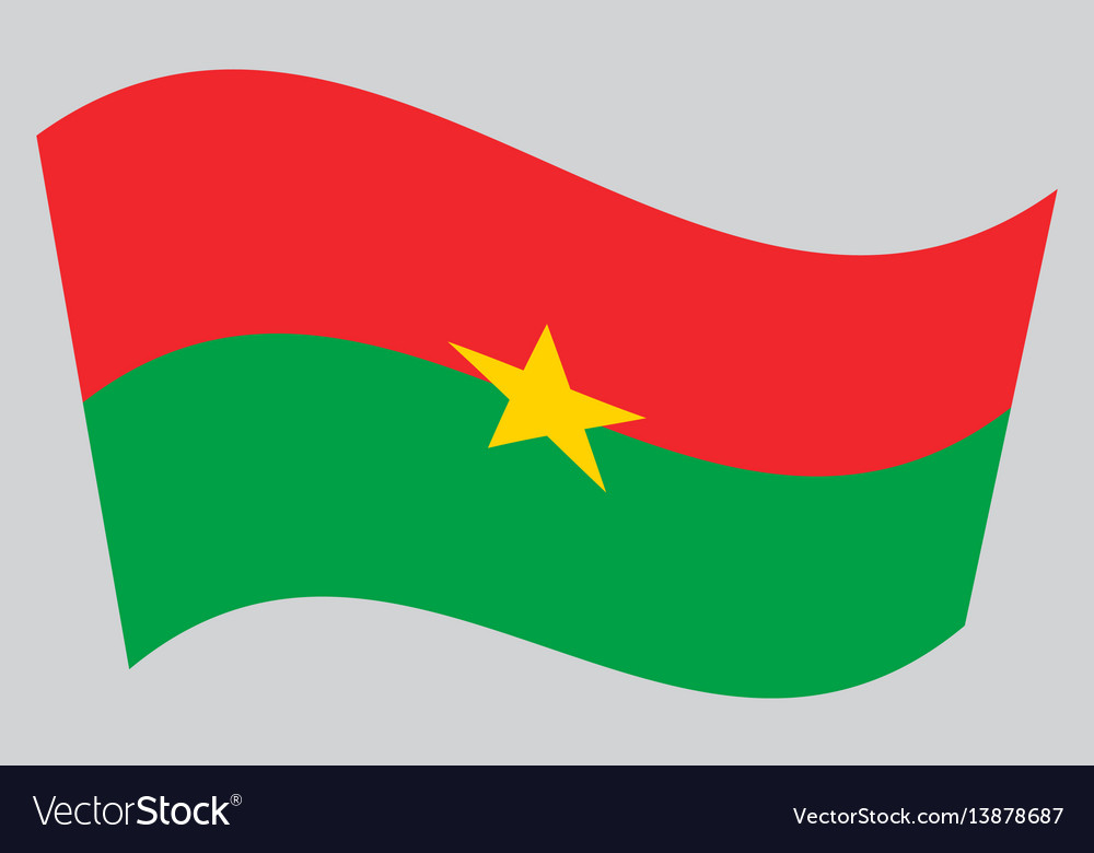 Flag of burkina faso waving on gray background