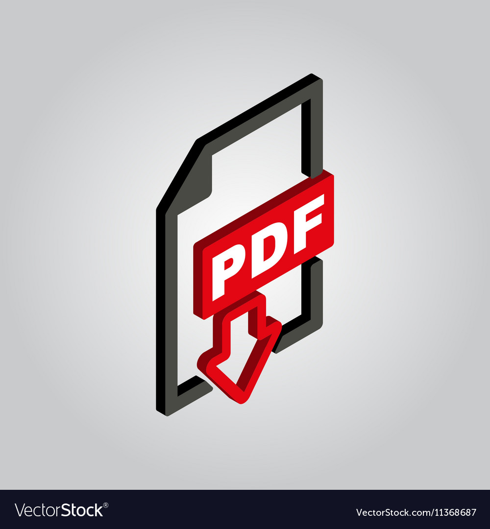 PDF icon 3D isometric file format symbol Flat vector image