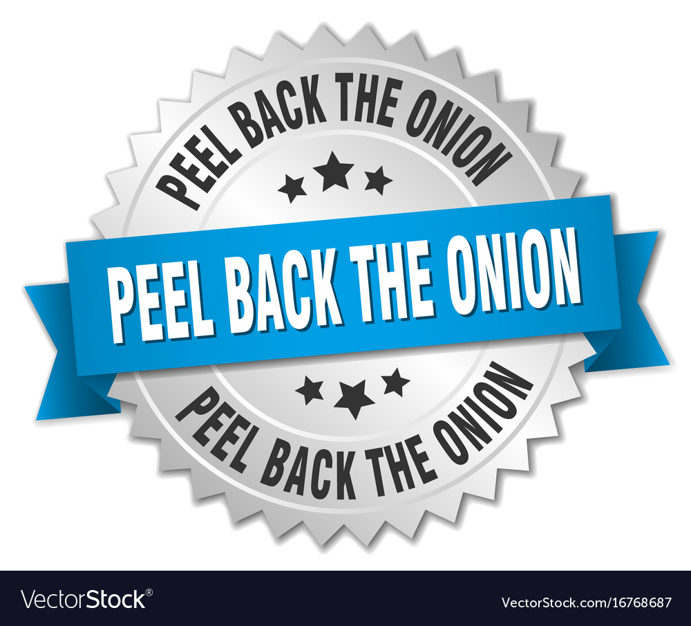 Peel back the onion round isolated silver badge