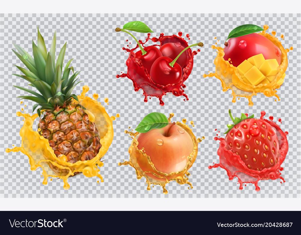 Pineapple strawberry apple cherry mango juice