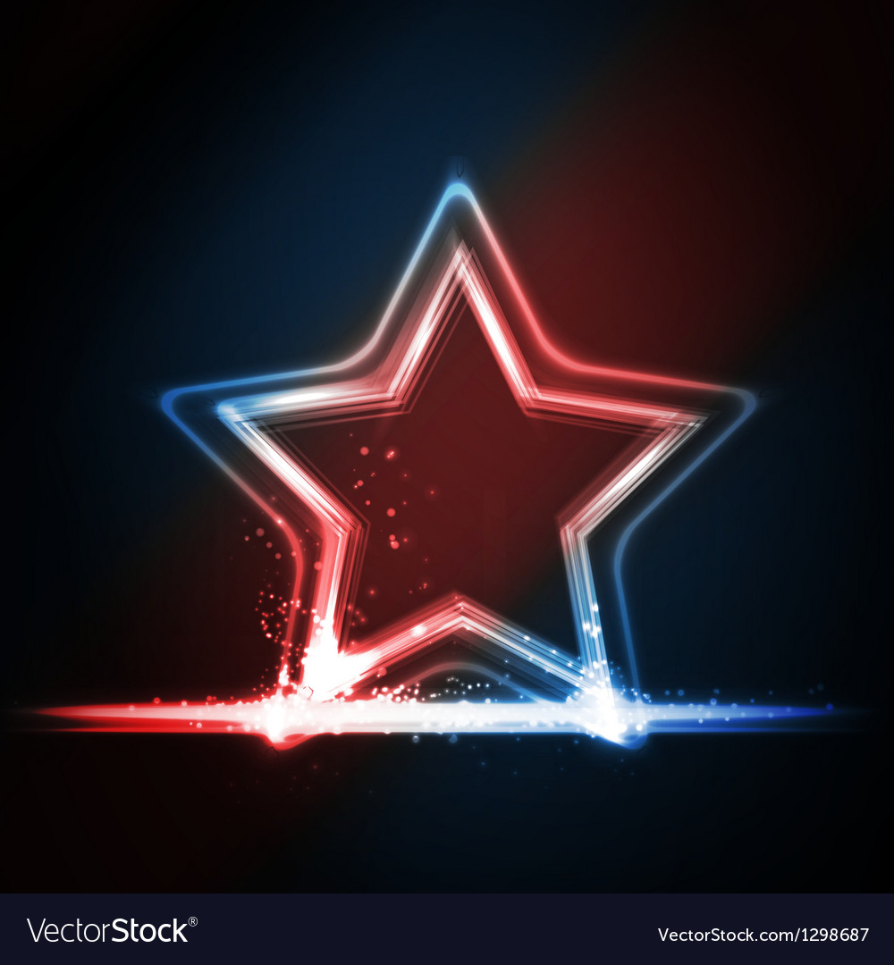 Red blue white glowing frame shaped as a star