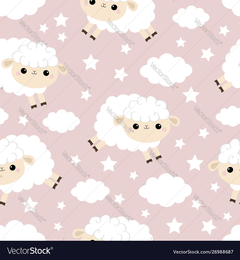 Seamless pattern cloud star in sky jumping vector