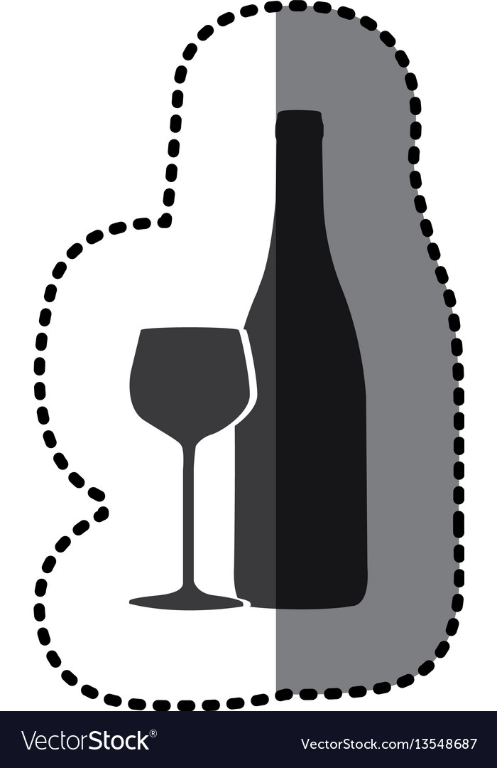 Sticker shading monochrome wine bottle and glass