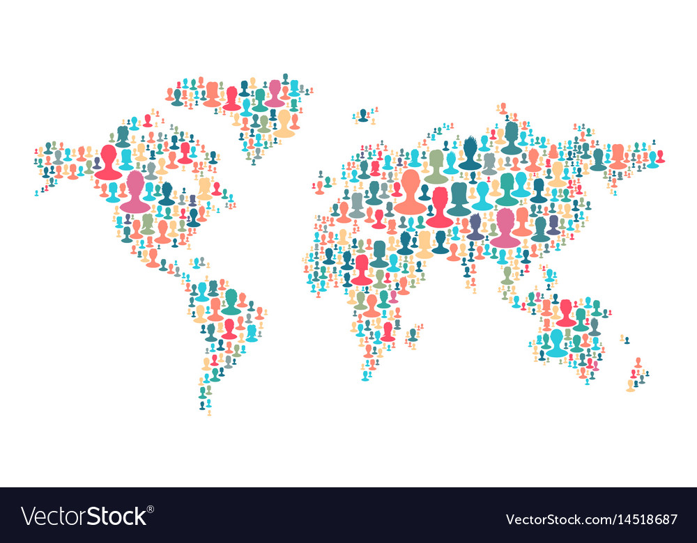 The map of the world made of plenty people