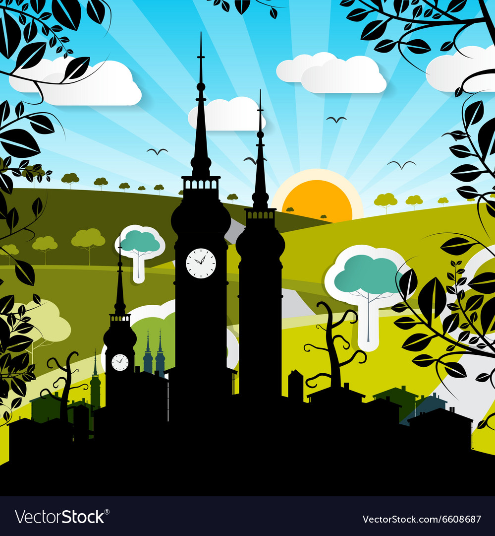 Urban Landscape with Houses and Tower Silhouette vector