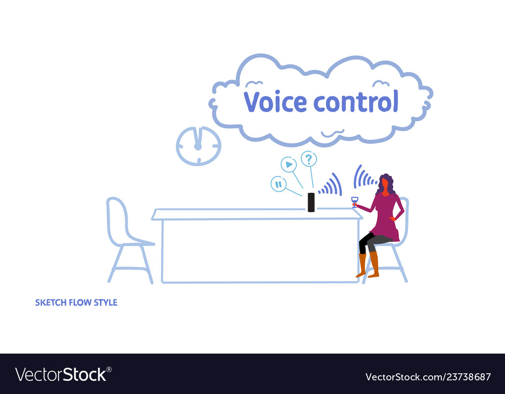 Woman using smart speaker personal assistant voice