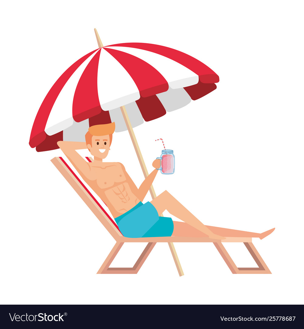 Young Man Relaxing In Beach Chair Drinking Juice Vector Image
