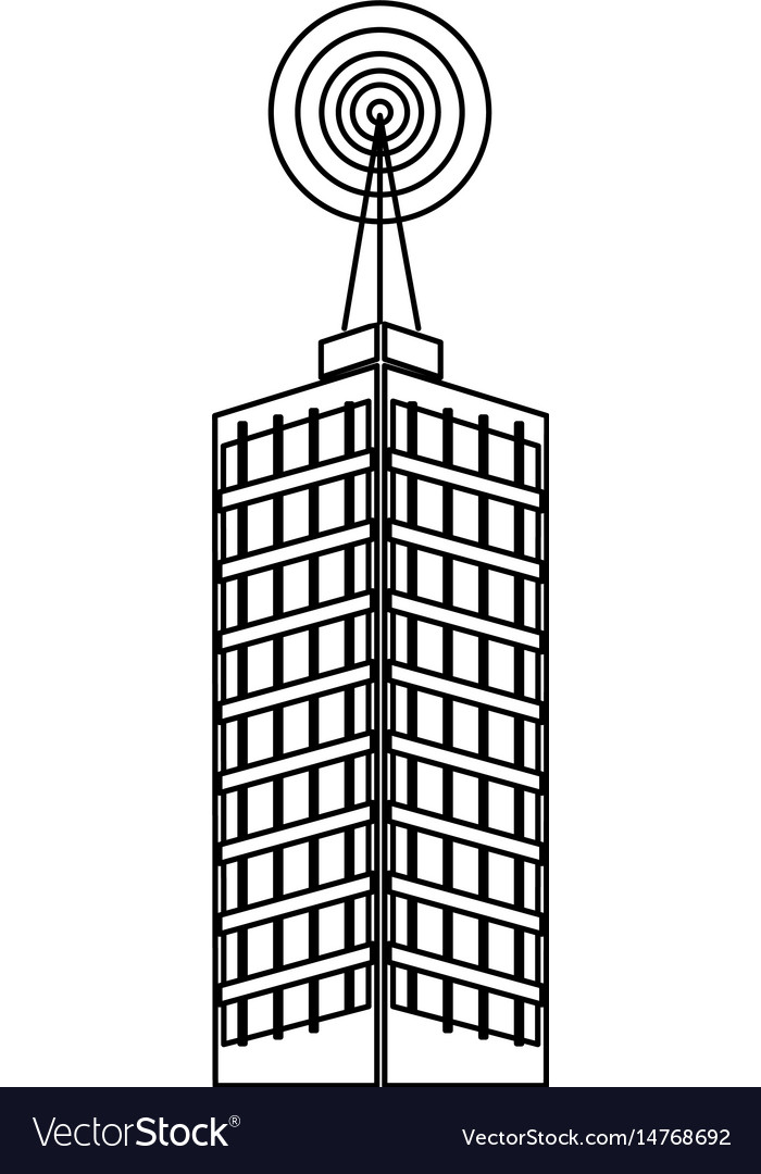 Antenna on building city broadcast business vector image