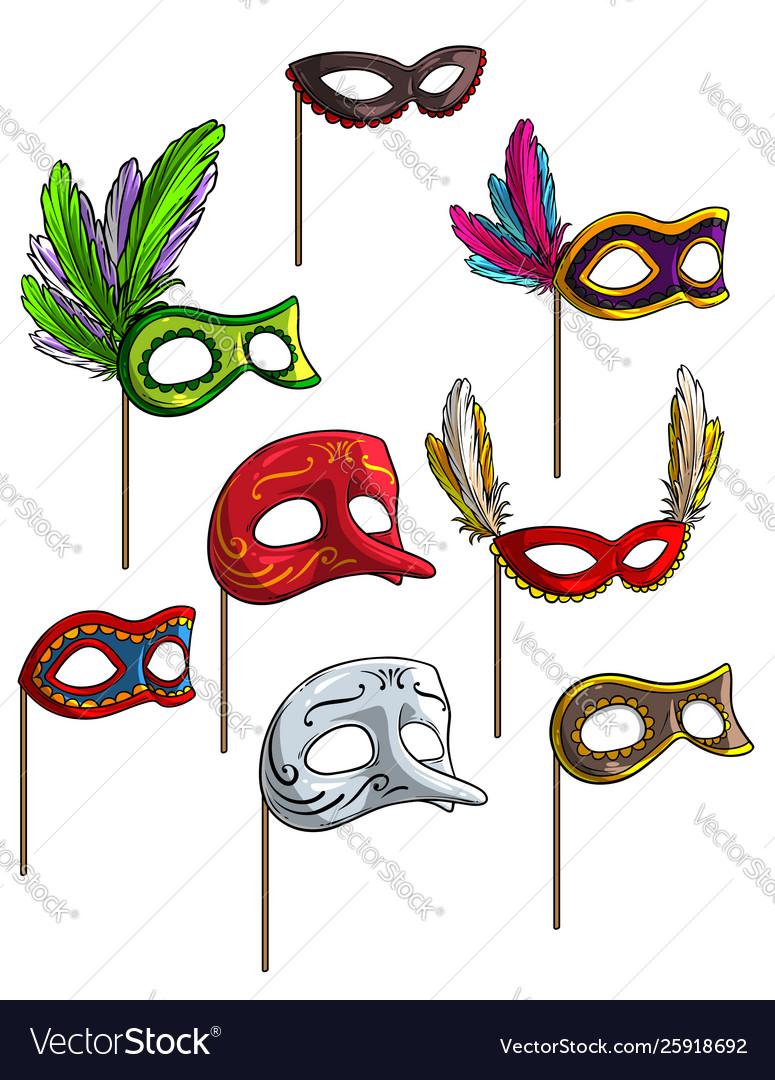 Cartoon carnival or venetian face mask set