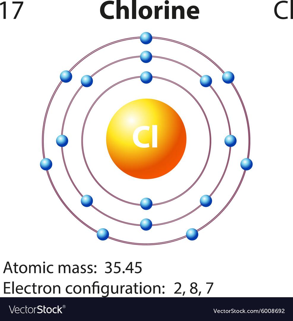 Diagram representation of the element chlorine vector image