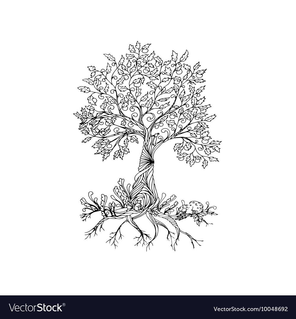 Fairy hand drawn black line art tree