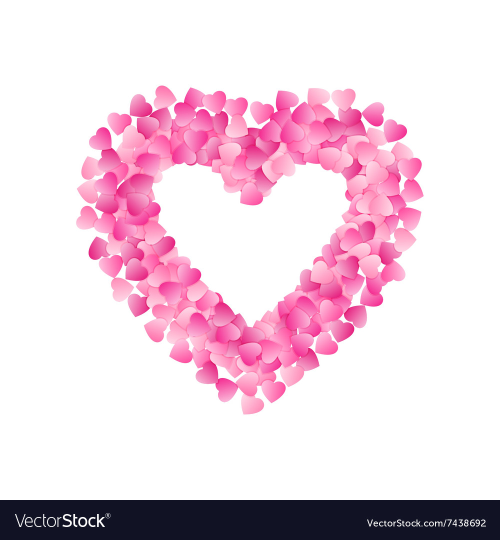 Heart Shape Frame Made Of Pink Hearts Valentines