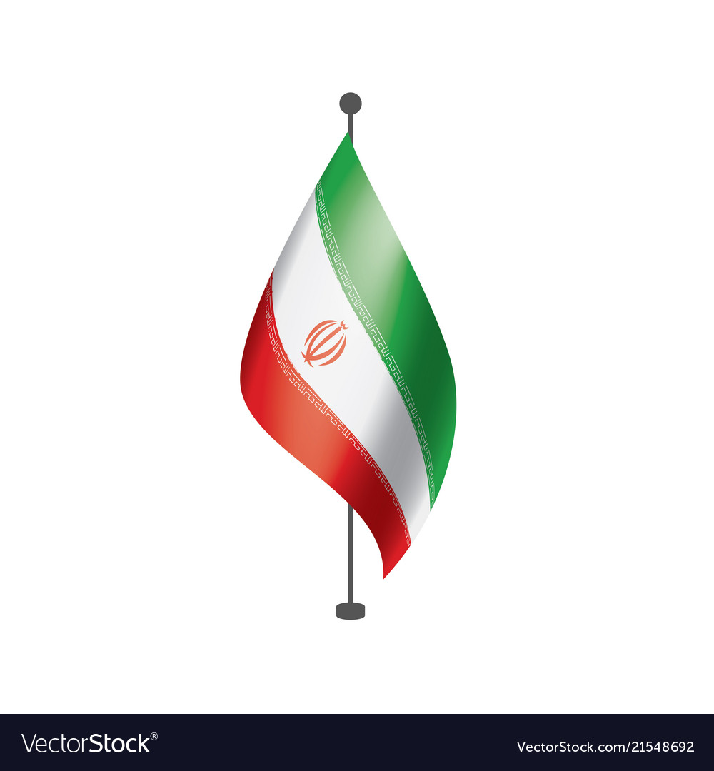 Iran Flag On A White Royalty Free Vector Image