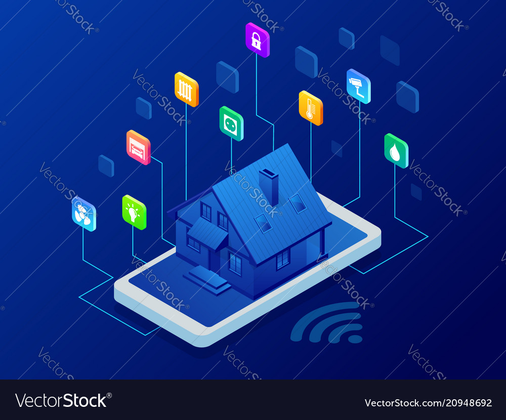 Isometric smart home technology interface on