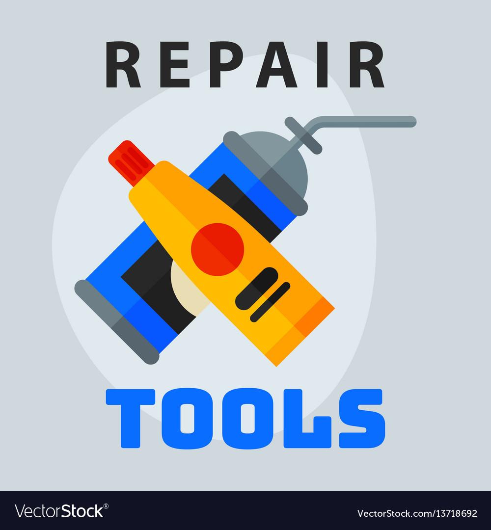 Repair tools adhesive foam icon creative graphic