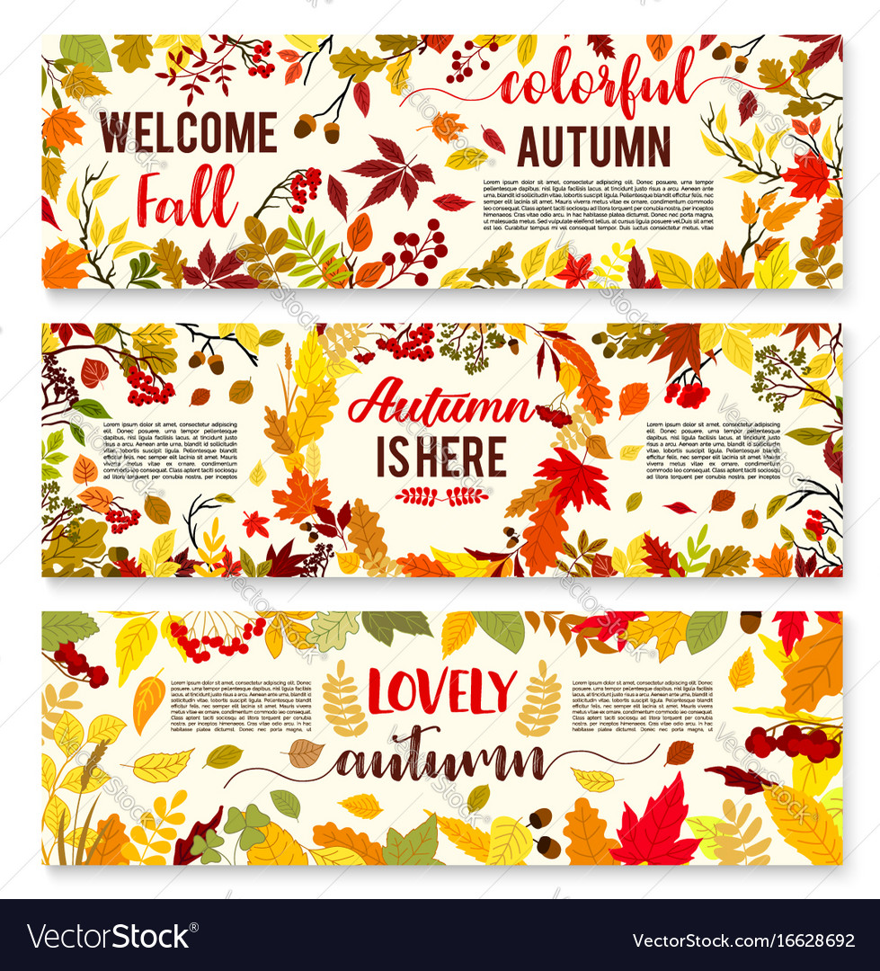 welcome autumn banner set with fall leaf wreath vector image