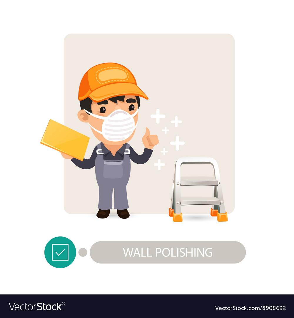 Worker Polishing Wall