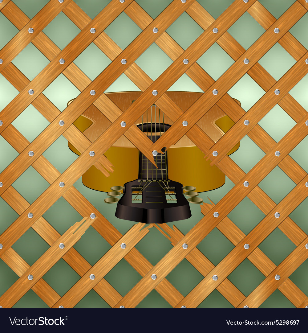 Acoustic guitar with crossed planks vector image