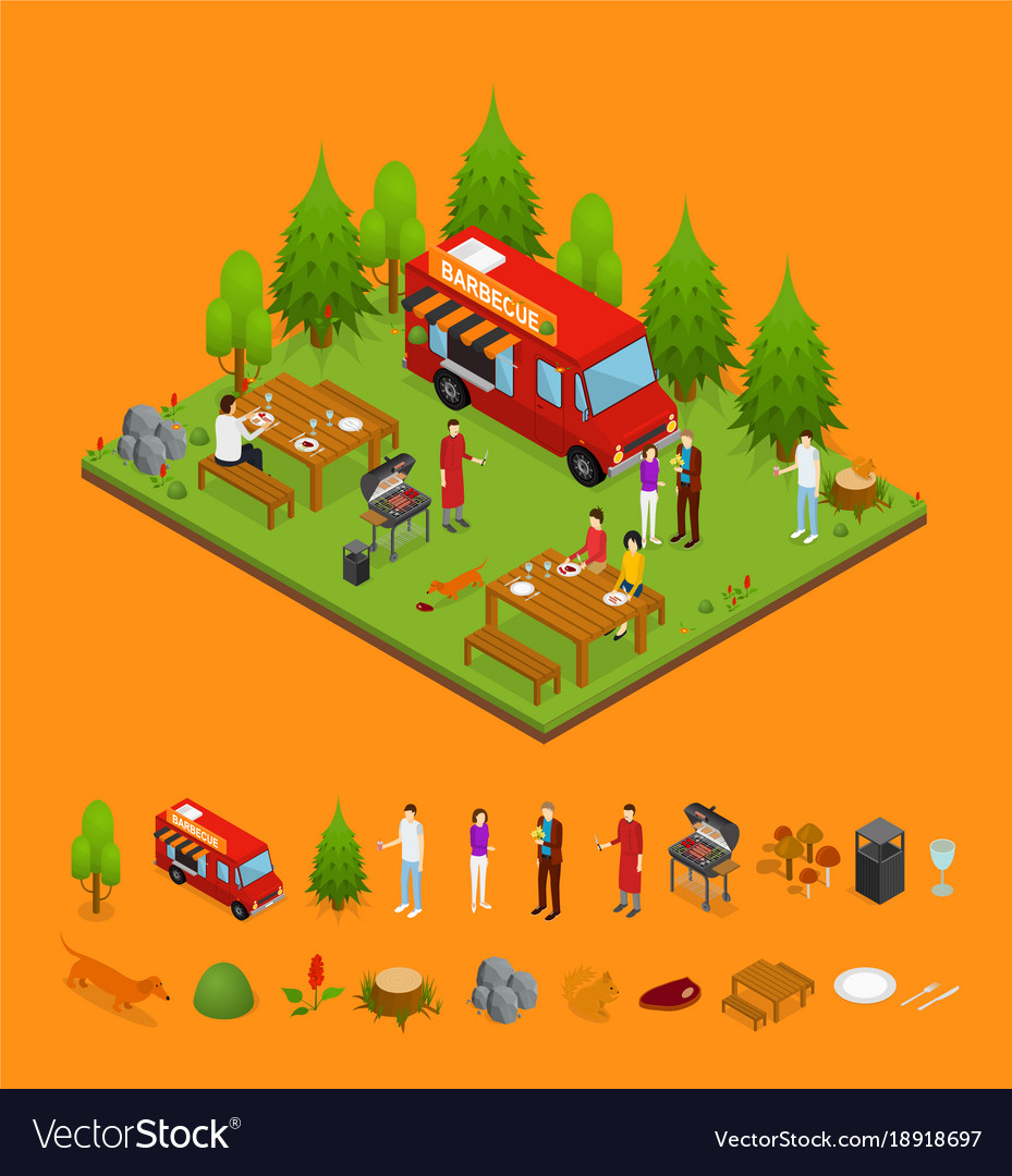 Bbq and parts isometric view vector image