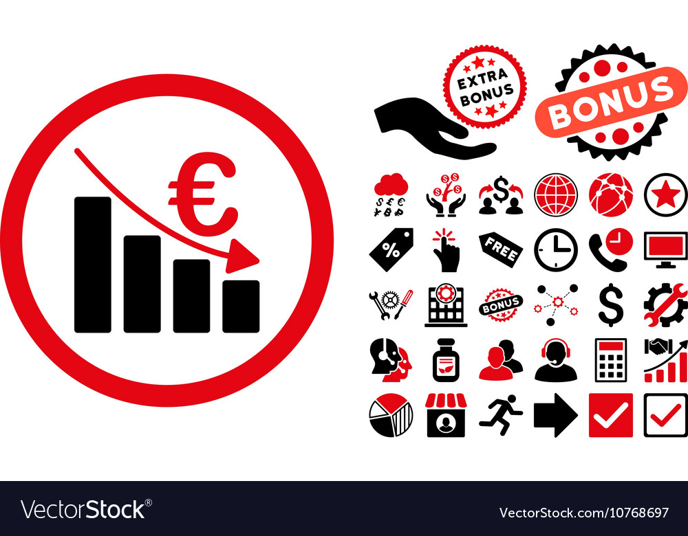 Euro Recession Flat Icon with Bonus