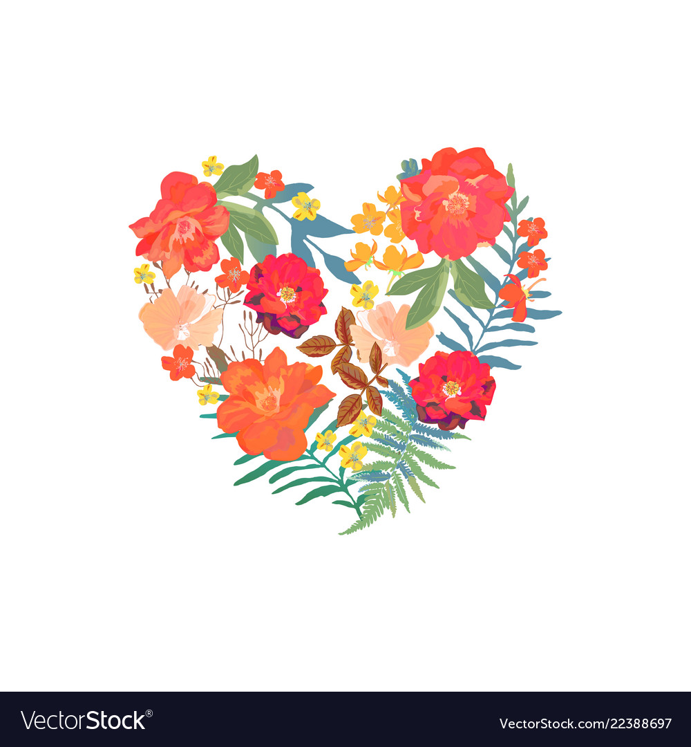 Floral heart with isolated hand drawn flowers