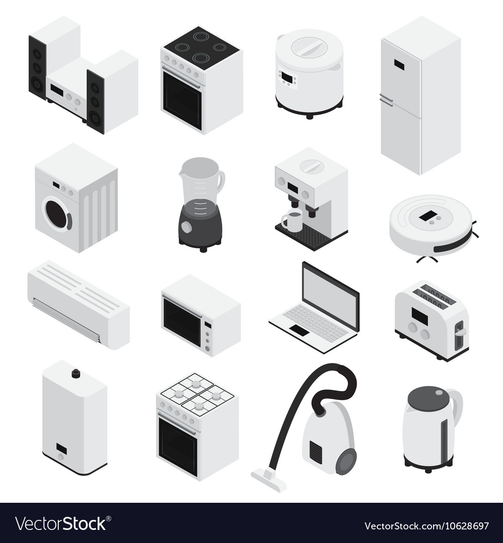 Isometrics Home Appliances Icon Set
