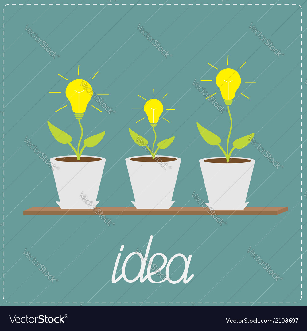 Lamp bulb plants in pots Wooden shelf Growing idea