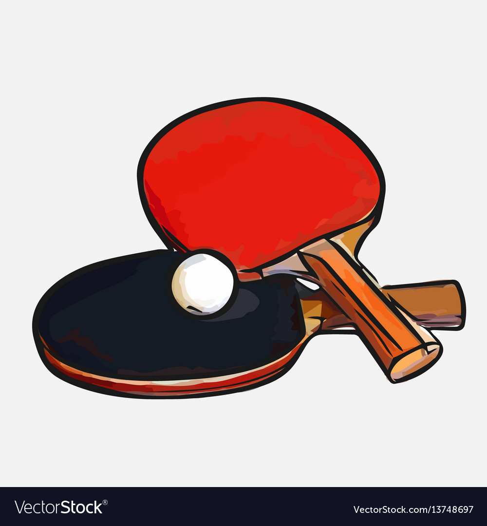 Rackets Ball Table Tennis Royalty Free Vector Image