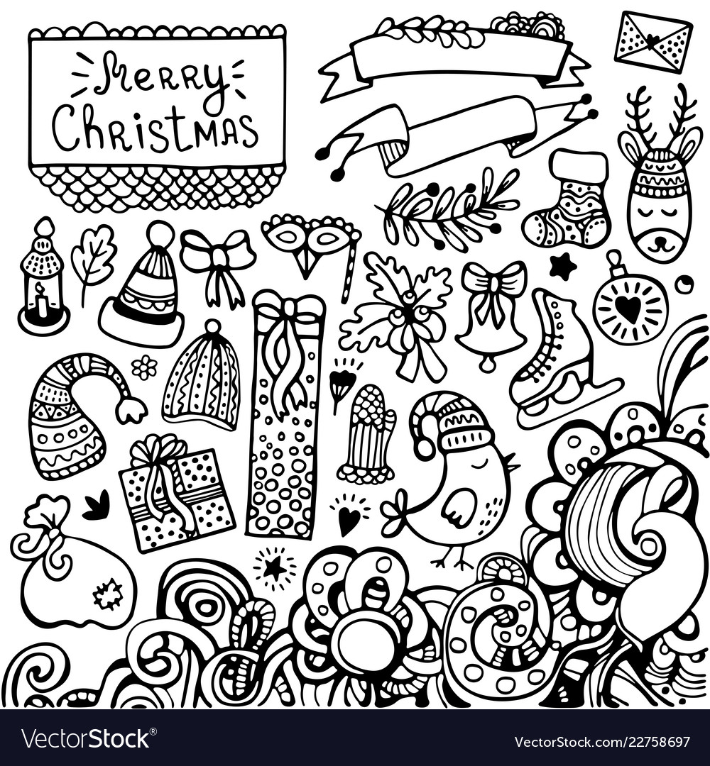 Set of cute hand-drawn christmas elements