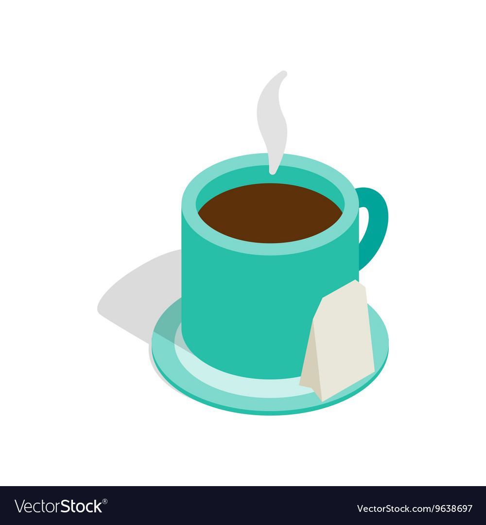Turquoise cup of tea icon isometric 3d style