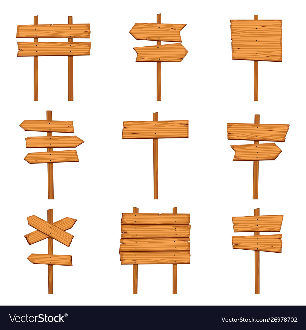 Cartoon wooden arrows blank wood signboards and
