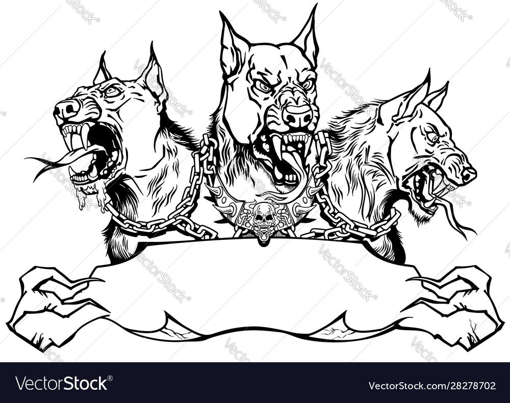 Cerberus hellhound design template with ribbon