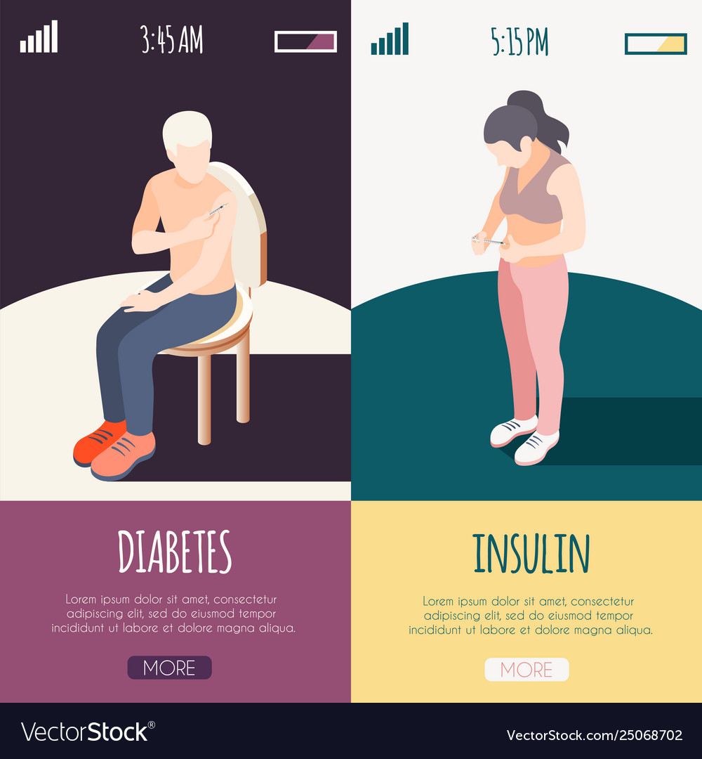 Diabetes isometric banners