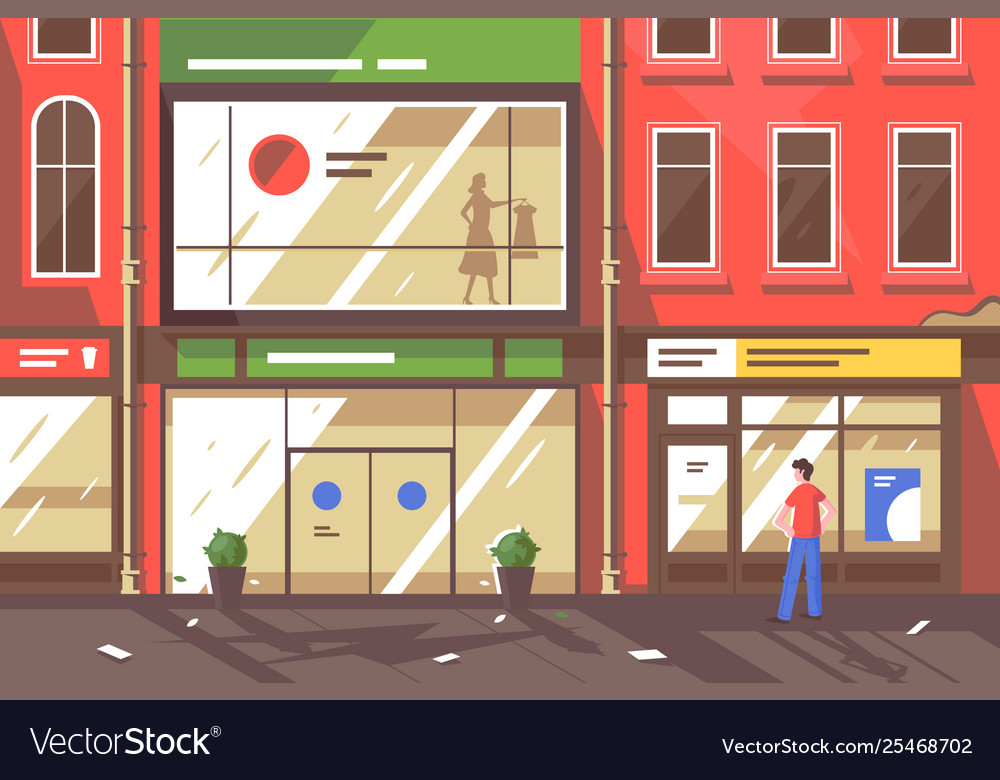 Flat young man on street with shop windows