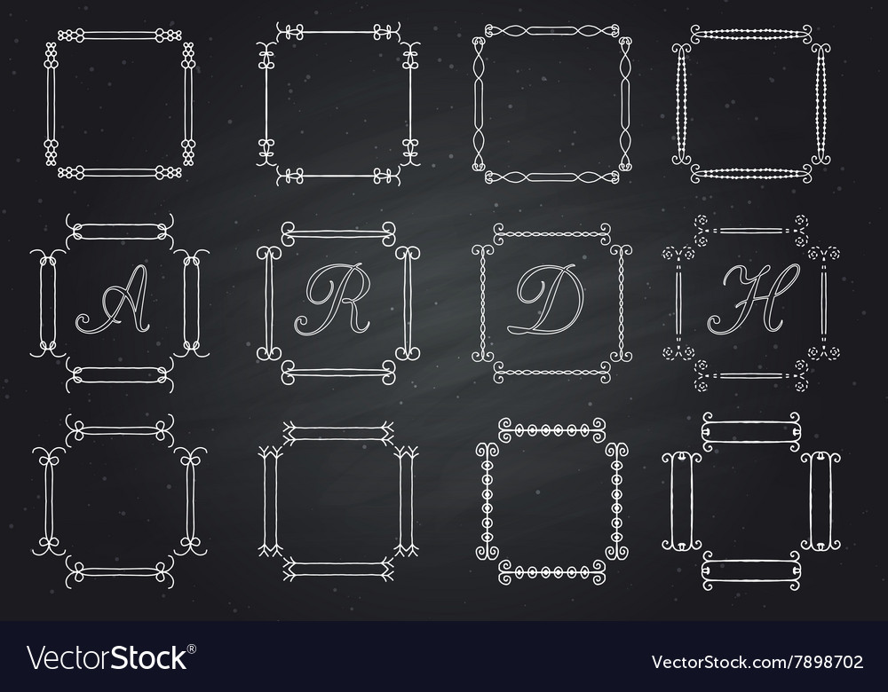 Frames for text hand-drawn monogram