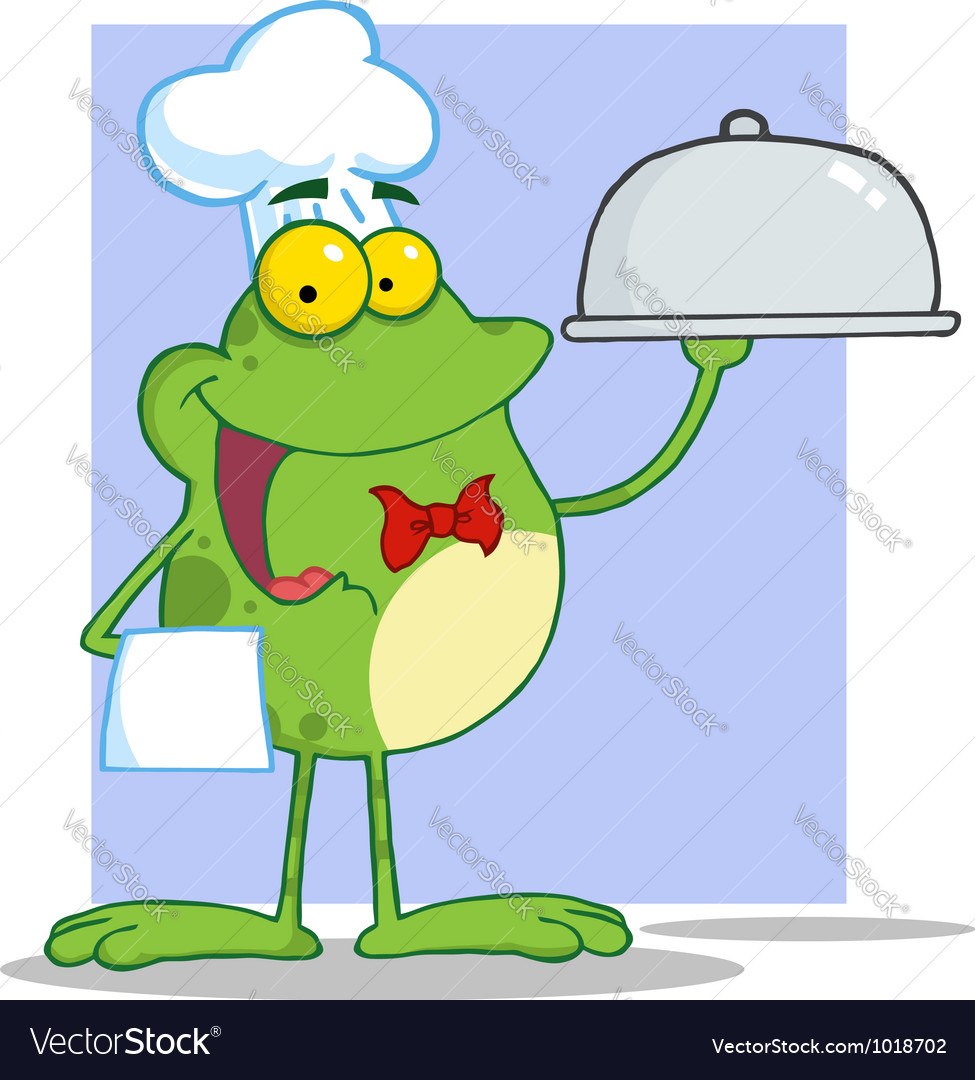 frog chef serving food in a sliver platter vector image rh vectorstock com Turtle Vector Leaping Frog Clip Art