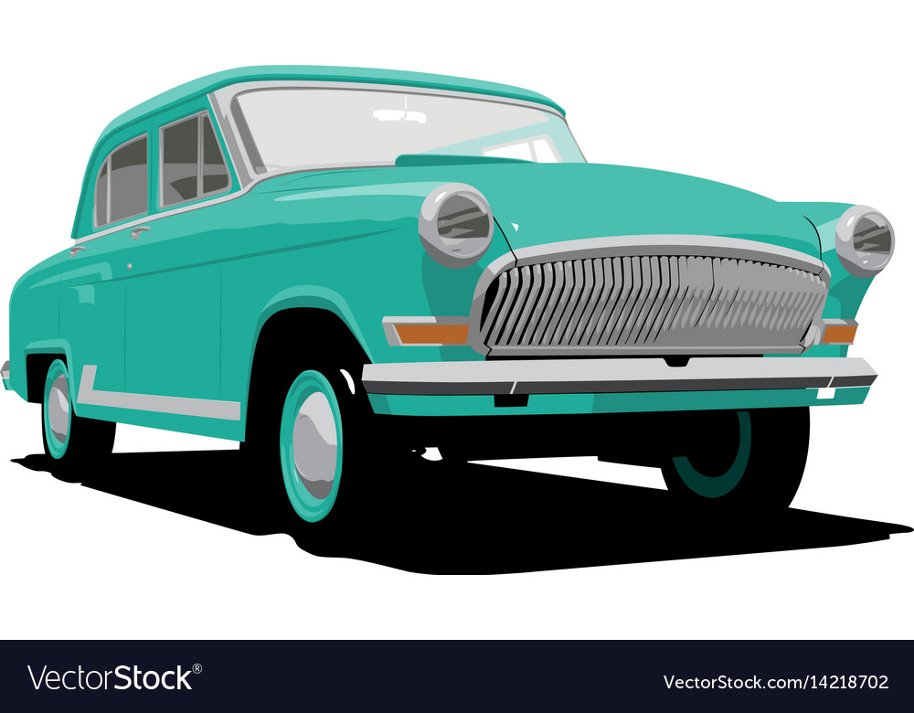 Green retro car