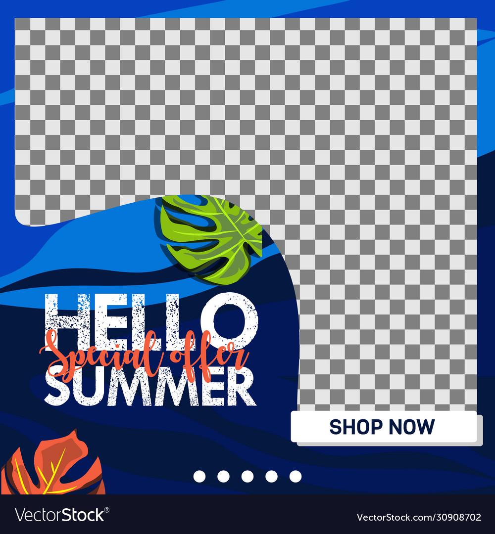 Hello summer sale banner promotion social media