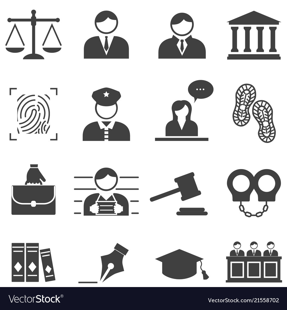 Justice law legal icons Royalty Free Vector Image
